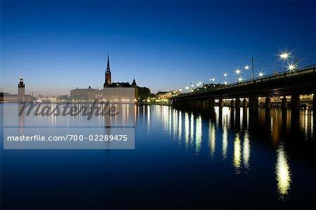Centralbron Bridge, Riddarholmen, and Stadsholmen Island at Night, Gamla Stan, Stockholm, Sweden