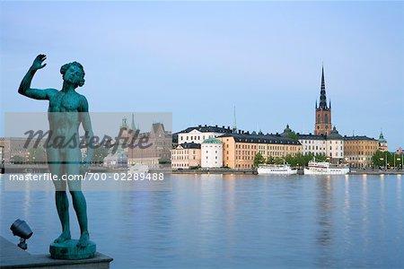View of Riddarholmen From Stockholm City Hall, Gamla Stan, Lake Malaren, Stockholm, Sweden