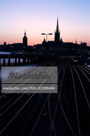 Railway Tracks in Gamla Stan at Night, Kungsholmen, Stockholm, Sweden