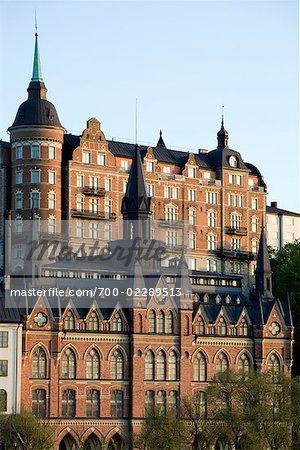 Vieux bâtiments de Slussen, Stockholm, Suède