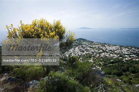 Vue d'Anacapri de Monte Solaro, golfe de Naples, Capri, Campanie, Naples, Italie