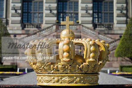 Close-up of Crown at Stockholm Palace, Stadsholmen, Gamla Stan, Stockholm, Sweden