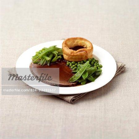 Rôti de boeuf et Yorkshire Pudding aux légumes