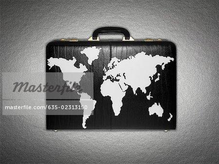 World map on briefcase