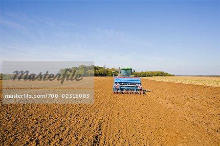Terrain de semis de tracteur