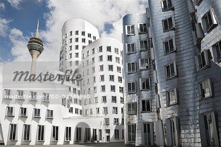 Frank Gehry Buildings and Rhein Tower, Dusseldorf, North Rhine-Westphalia, Germany