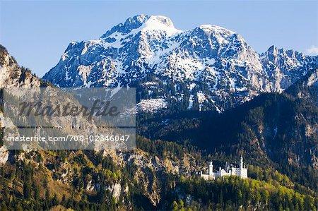 Château de Neuschwanstein, montagnes Ammer, Hohenschwangau, Schwangau, Ostallgau, Bavière, Allemagne