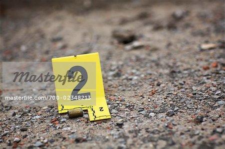 Beweise-Tag am Tatort von Bullet-Shell