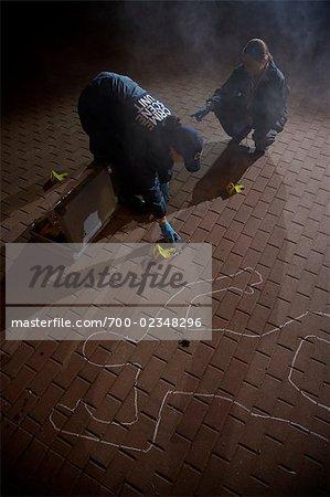 Polizisten am Tatort, Toronto, Ontario, Kanada