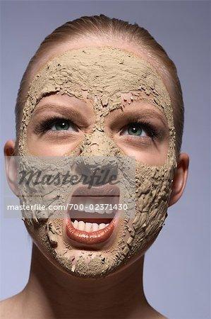 Woman Wearing Facial Beauty Mask