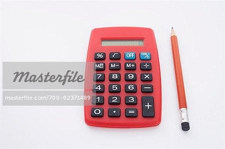 Still Life of Calculator and Pencil