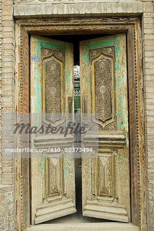 Chine, Xinjiang, Yarkand, ancien traditionnel ouïghour logement
