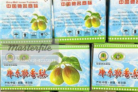 China, Xinjiang, pears boxes