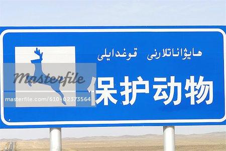 China, Xinjiang, road sign