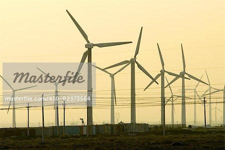 China, Xinjiang, between Urumqi and Turpan, wind turbines