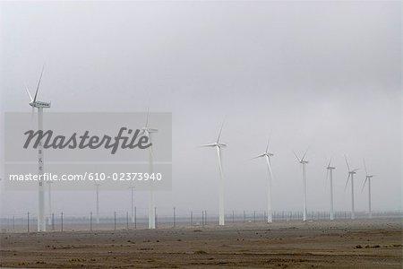 China, Gansu, north-western landscape, wind turbines