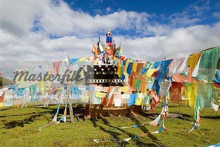 China, Qinghai, Tibetan prayer flags