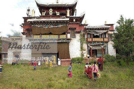 Chine, Sichuan, près de Danba, temple bouddhiste tibétain