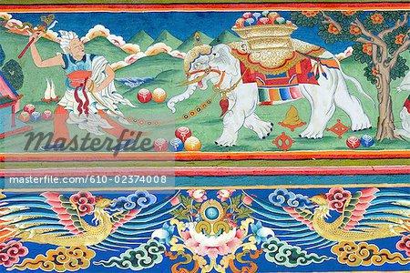 China, Sichuan, near Rongpatsa, Tibetan monastery, detail of a fresco