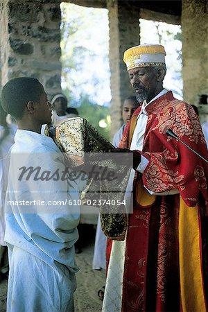 Fin de Gondar, l'Éthiopie, de la masse, prêtre