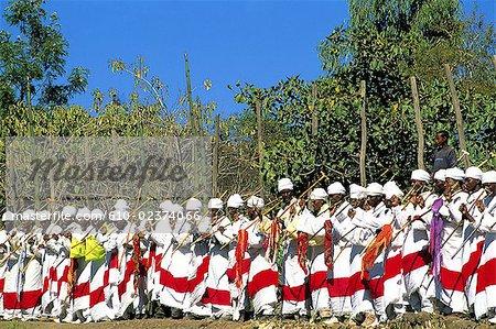 Éthiopie, fête de l'Epiphanie région, Lalibela, Wollo « Timkat », danse rituelle
