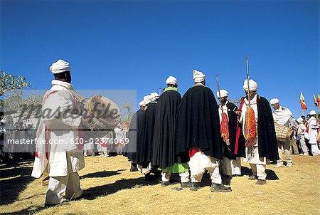 Éthiopie, région Wollo, Lalibela, fête de l'Epiphanie « Timkat », musique rituelle et danse