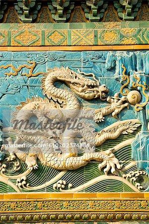 China, Beijing, Beihai park, Nine Dragons wall, detail