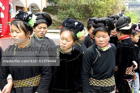 Village de Taojiang, Guizhou, la Chine, costume traditionnel Miao