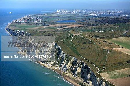 France, Pas-de-Calais, Opal Coast, Cap Blanc-Nez and Calais at back