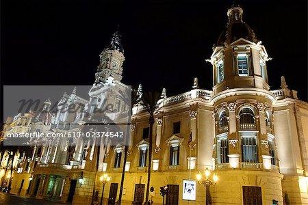 Spain, Valencia, plazza Ayuntamiento, town hall by night