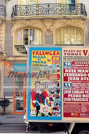 Publicité pour une corrida à l'aréna de la Place de Taureaux d'Espagne, Valence,