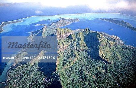 French Polynesia, Bora Bora island, aerial view.