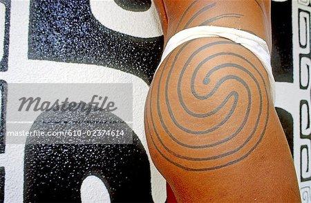 French Polynesia, Moorea island, tattoo.