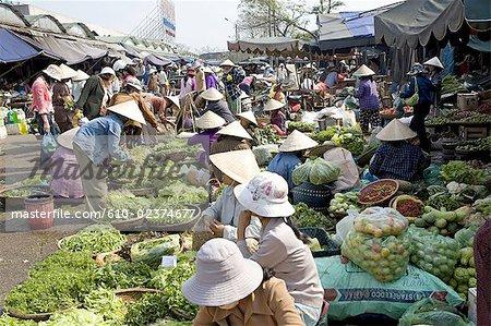 Vietnam, Hue, market, vegetables for sale.