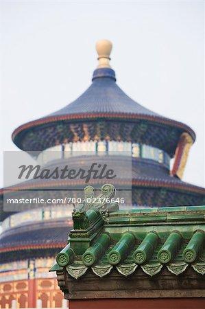 Mur en détail, la salle de prière pour une bonne récolte, Temple du ciel, Pékin, Chine