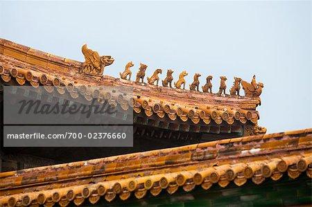 Toit, Harmony Hall du centre, la cité interdite, Pékin, Chine