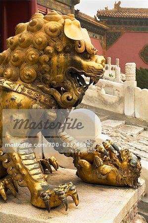 Lion dorée, Palais de la longévité tranquille, la cité interdite, Pékin, Chine