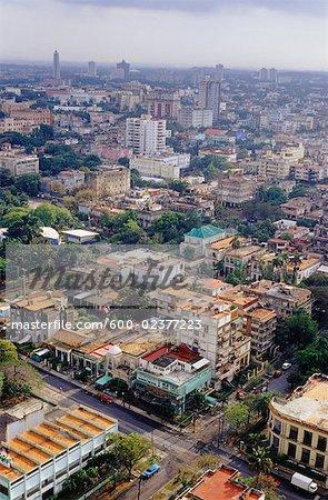 Vue d'ensemble du quartier Vedado, la Havane, Cuba