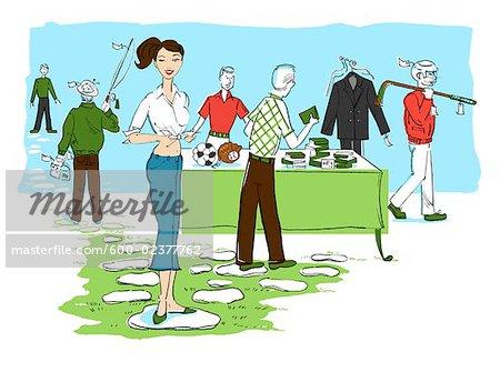 Illustration de femme vendant des objets hommes à la vente de garage