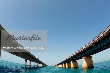 Low angle view of bridges across the sea, Florida Keys, Florida, USA