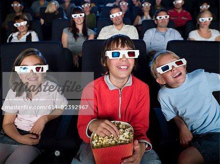 Children watching a 3d movie