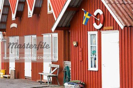 Angeln-Hütte am Hafen, Bohuslan, Schweden
