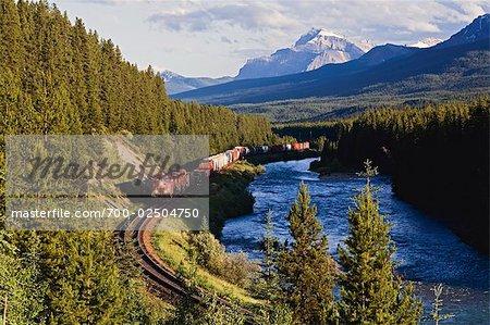 Train de marchandises à travers les montagnes Rocheuses, la rivière Bow Bow Valley, près du lac Louise, Parc National Banff, Alberta, Canada