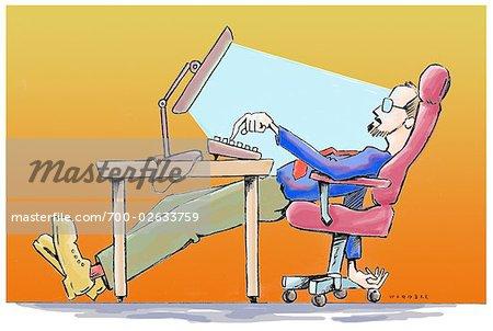 Abbildung des Menschen an seinem Computer arbeiten
