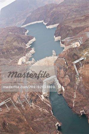 Vue aérienne du Hoover Dam, Boulder City, Lake Mead National Recreation zone, Nevada, USA