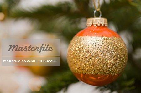 Close-up of Christmas Ornament on Christmas Tree