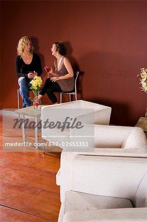 Deux jeunes femmes, assis dans le salon, boire un coup et riant, vue grand angle