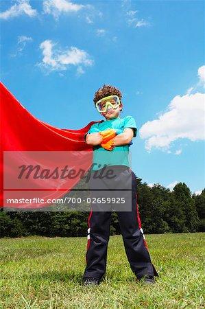 Boy Dressed Up as Super Hero
