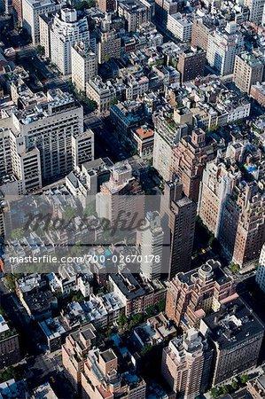 Aerial View of Manhattan at Sunrise, Upper East Side, New York City, New York, USA