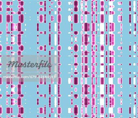 DNA Autoradiogram, Bildmaterial. Autoradiograms zeigen die Reihenfolge der Nukleotide Basen (Grundbausteine) in einer Probe von DNA (Desoxyribonukleinsäure). DNA enthält Abschnitte, genannt Gene, die die körpereigene genetischer Informationen zu codieren, jede Zelle Struktur, Funktion und Verhalten bestimmen.